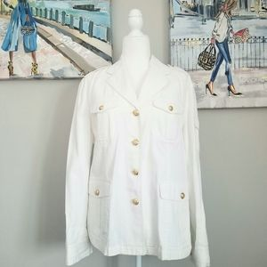 NWOT Ralph Lauren White Gold Military Style Jacket